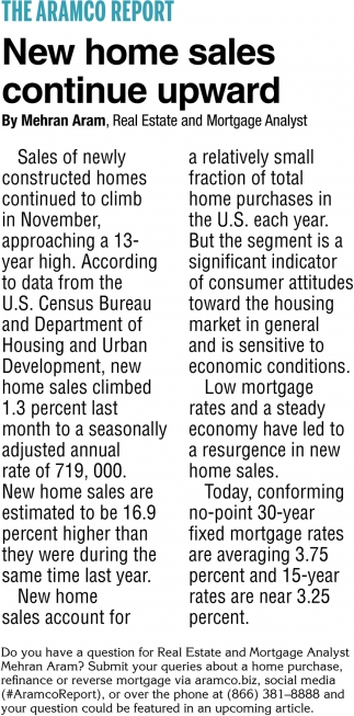 New Homes Sales Continued Upward