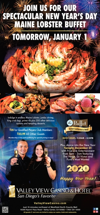 Join Us for Our Spectacular New Year's Day Maine Lobster Buffet
