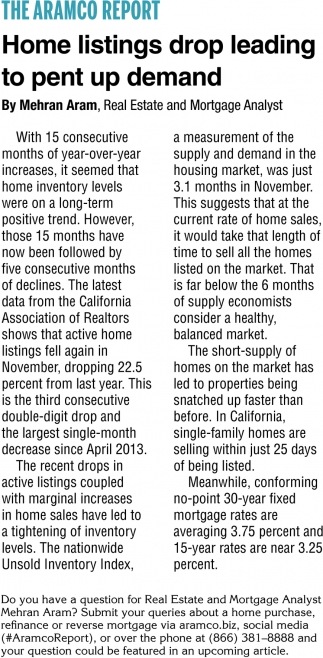 Home Listings Drop Leading to Pent Up Demand