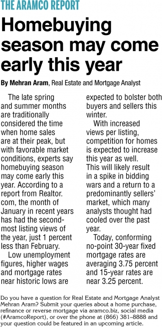 Homebuying Season May Come Early this Year