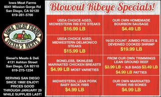 blowout Ribeye Specials