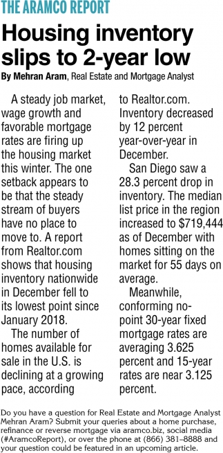 Housing Inventory Slips to 2-Year Low