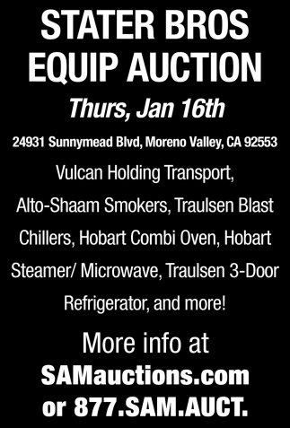 Stater Bros Equip Auction