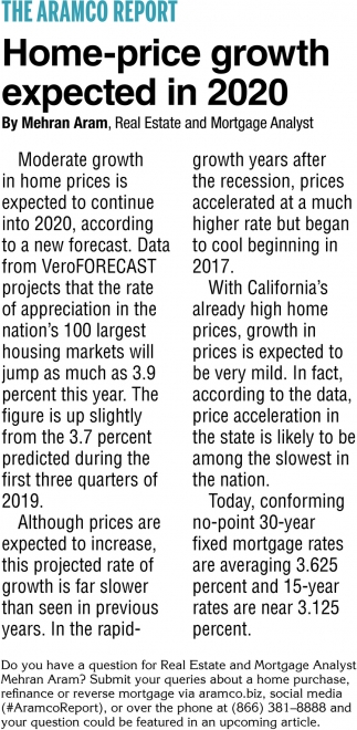 Home-Price Growth Expected In 2020