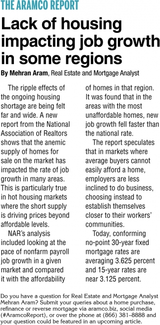 Lack of Housing Impacting Job Growth in Some Regions
