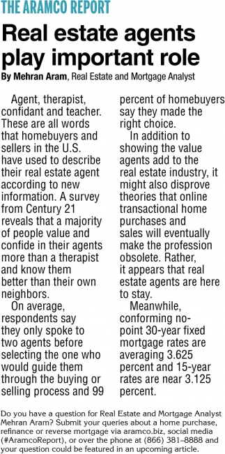 Real Estate Agents Play Important Role
