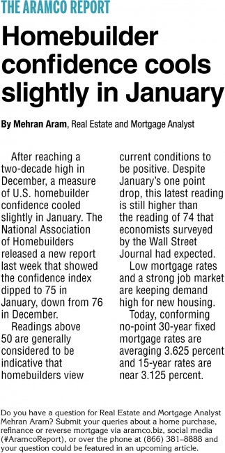 Homebuilder Confidence Cools Slightly in January