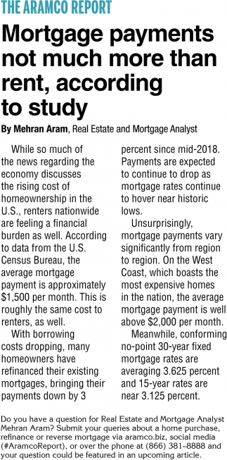Mortgage Payments Not Much More than Rent.