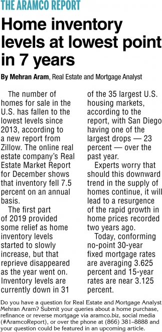 Home Inventory Levels at Lowest Point in 7 Years