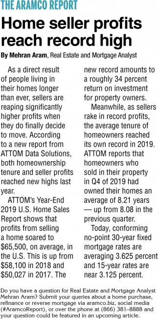 Home Seller Profits Reach Record High