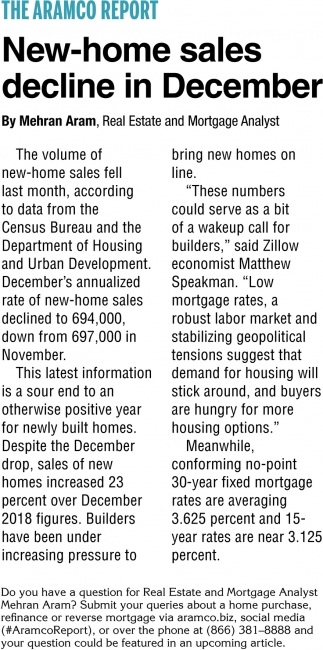 New-Home Sales Decline in December