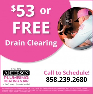 $53 or Free Drain Clearing