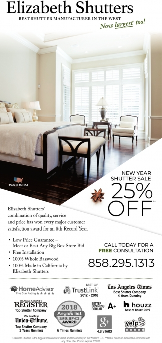 New Year Shutter Sale 25% OFF
