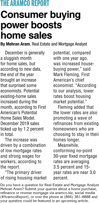 Consumer Buying Power Boosts Home Sales