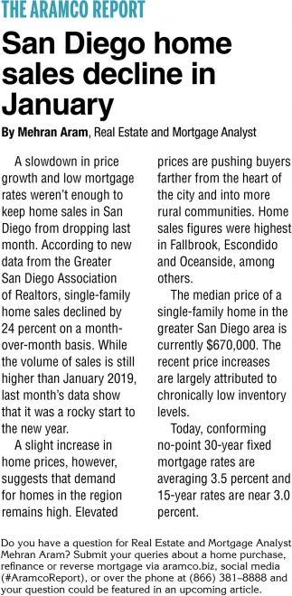 San Diego Home Sales Decline in January