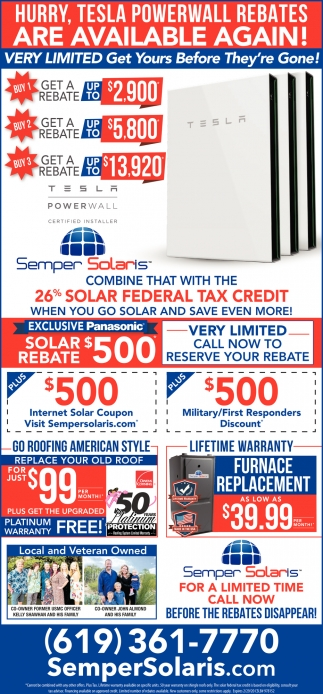 Tesla Powerwall Rebates