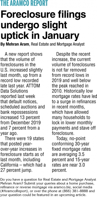 Foreclosure Filings Undergo Slight Uptick in January