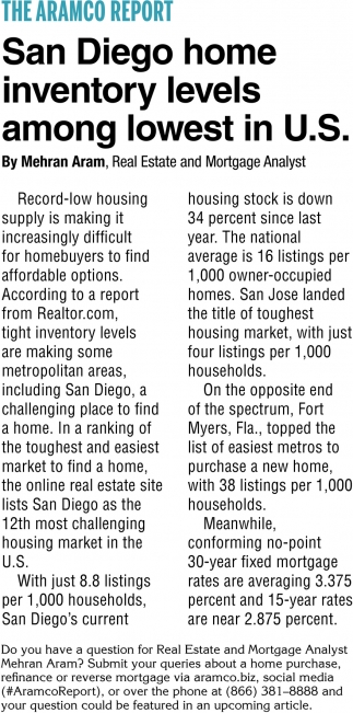 San Diego Home Inventory Levels Among Lowest in U.S.
