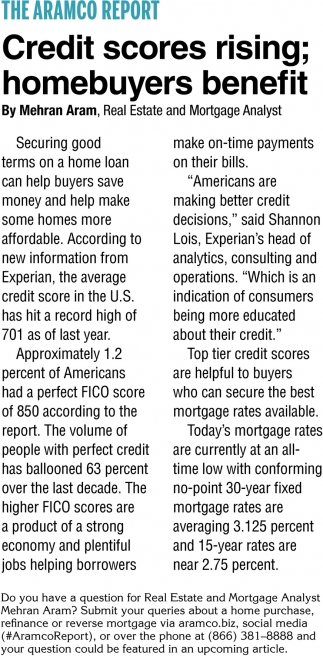 Credit Scores Rising; Homebuyers Benefit