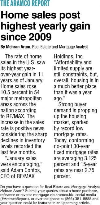 Home Sales Post Highest Yearly Gain Since 2009