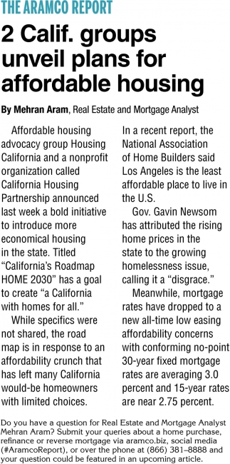 2 Calif. Groups Unveil Plans for Affordable Housing