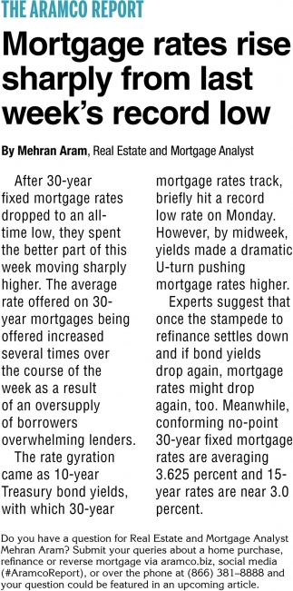 Mortgage Rates Rise Sharply From Last Week's Record Low