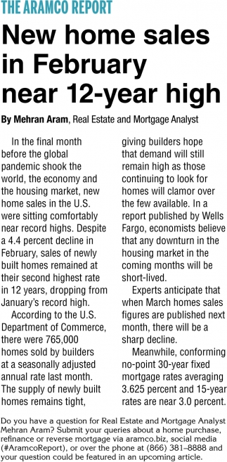 New Home Sales In February Near 12-Year High