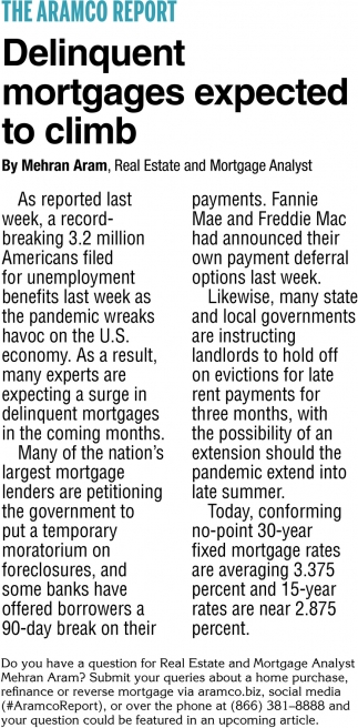 Delinquent Mortgages Expected to Climb