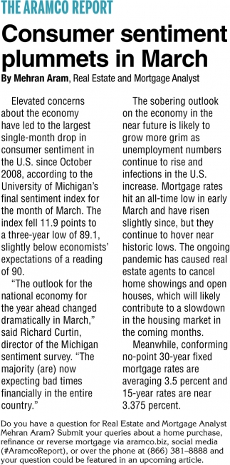 Consumer Sentiment Plummets in March