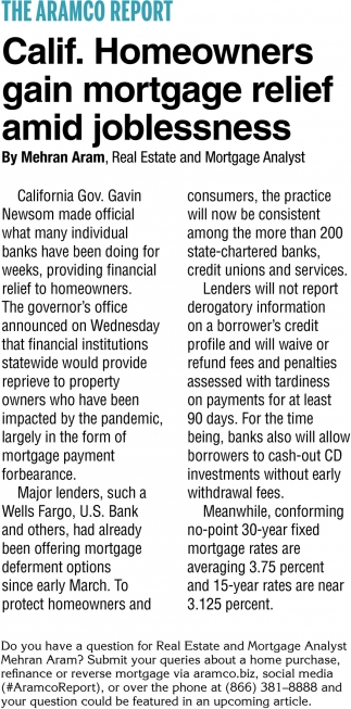 Calif. Hmeowners Gain Mortgage Relief Amid Joblessness