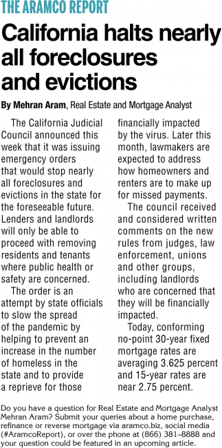 California Halts Nearly All Foreclosures and Evictions