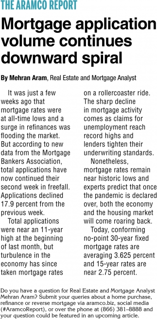 Mortgage Application Volume Continues Downward Spiral
