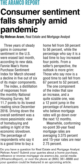 Consumer Sentiment Falls Sharply Amid Pandemic