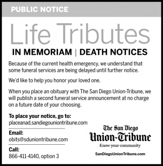 Life Tributes in Memoriam