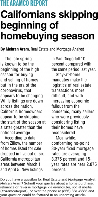 Californians Skipping Beginning of Homebuying Season