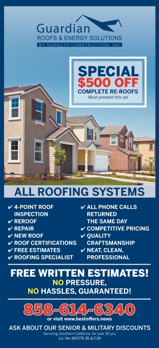 Special 500$ OFF Complete Re-Roofs