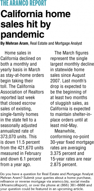 California Home Sales Hit by Pandemic