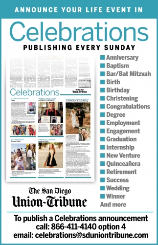 Announce Your Life Event in Celebrations Publishing Every Sunday