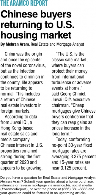 Chinese Buyers Returning to U.S Housing Market