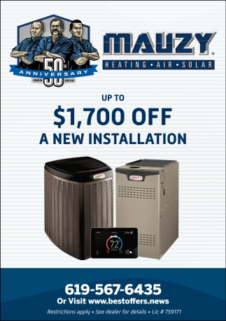 Up to $1,700 OFF A New Installation