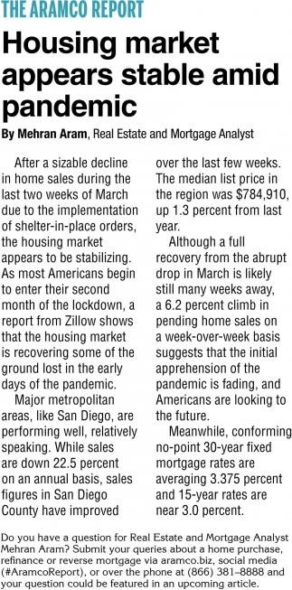 Housing Market Appears Stable Amid Pandemic