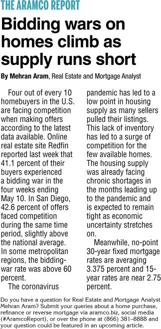 Bidding Wars On Homes