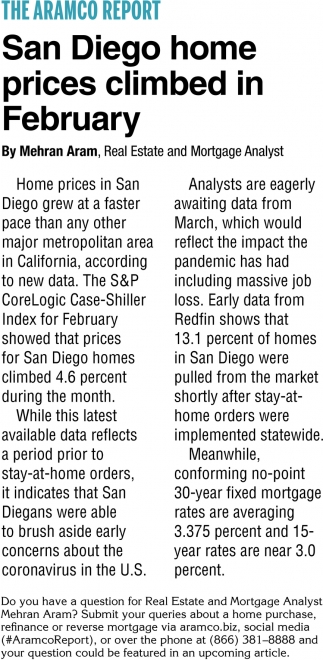 San Diego Home Prices Climbed In February