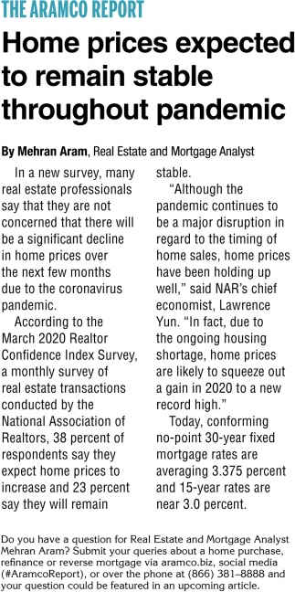 Home Prices Expected to Remain Stable Throughout Pandemic