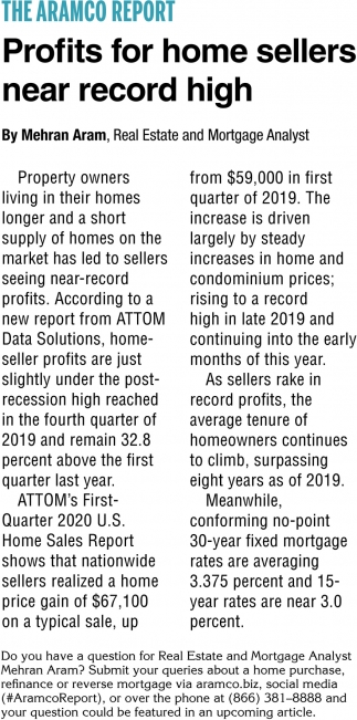 Profits for Home Sellers Near Record High