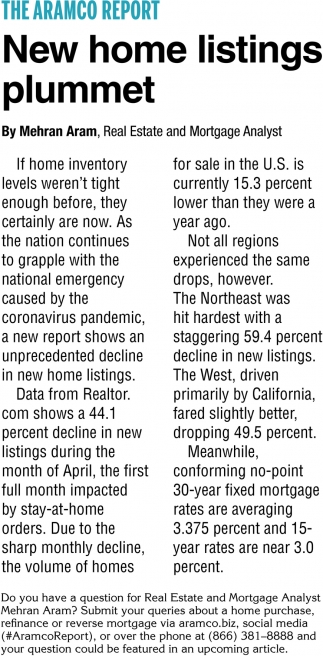 New Home Listings Plummet