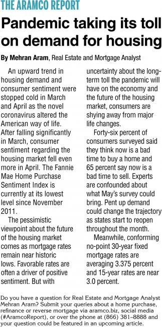 Pandic Taking Its Toll On Demand for Housing