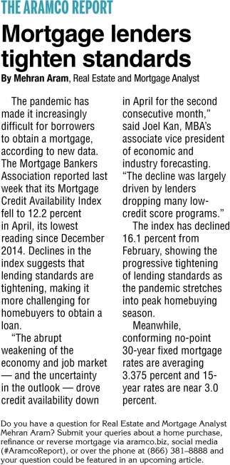 Mortgage Lenders Tighten Standards