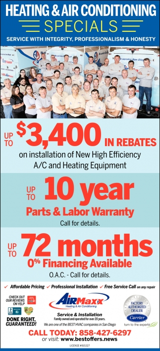 Heating & Air Conditioning Specials!