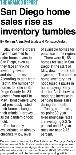 San Diego Home Sales Rise as Inventory Tumbles